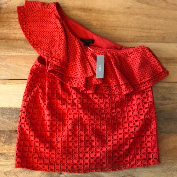 ea7a0af32b320 New J. Crew Red One Shoulder Ruffle Eyelet Top. NWT
